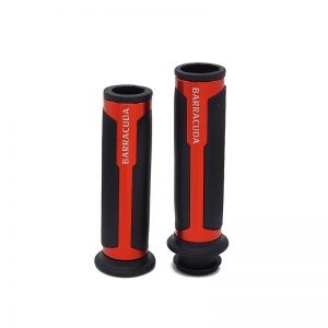 """Universal BARRACUDA Aluminum Motorcycle Handle Bar Soft Grips CNC 7/8"""" 22mm - RED"""